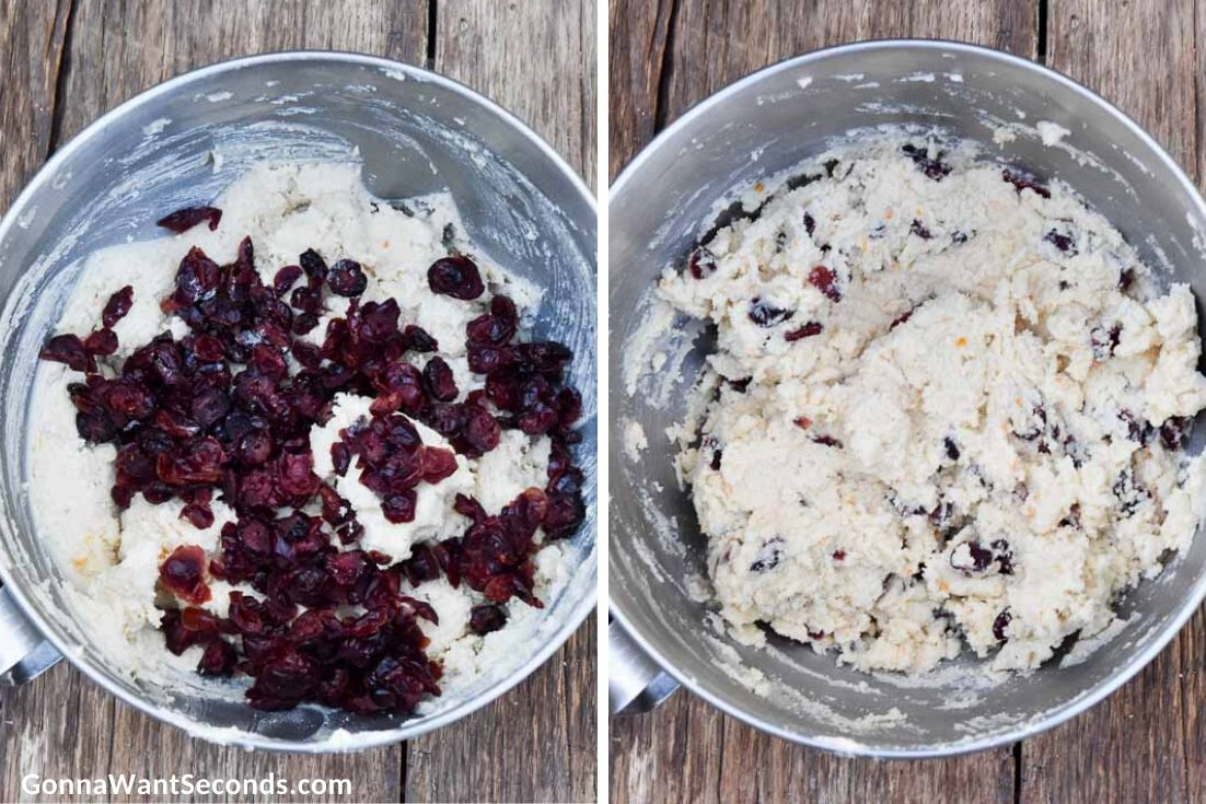 How to make Cranberry orange shortbread cookies, adding cranberries to dough mixture