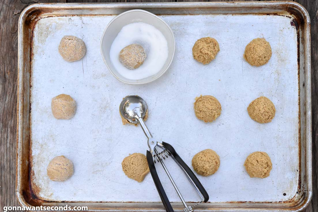 How to make ginger molasses cookies, placing cookie dough on the baking sheet