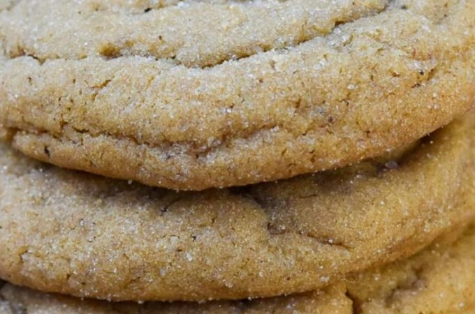 ginger molasses cookies stack on top of each other