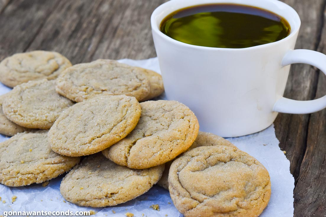 Ginger Cookies Recipes, ginger molasses cookies with a cup of coffee on the side