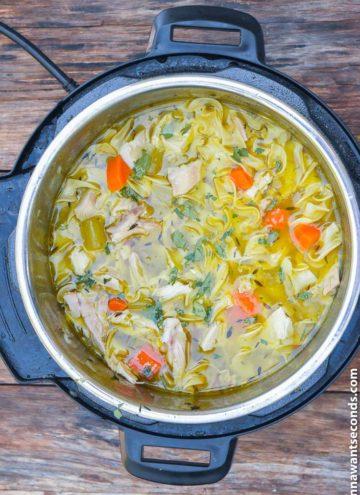 Instant Pot Chicken Noodle Soup boiling