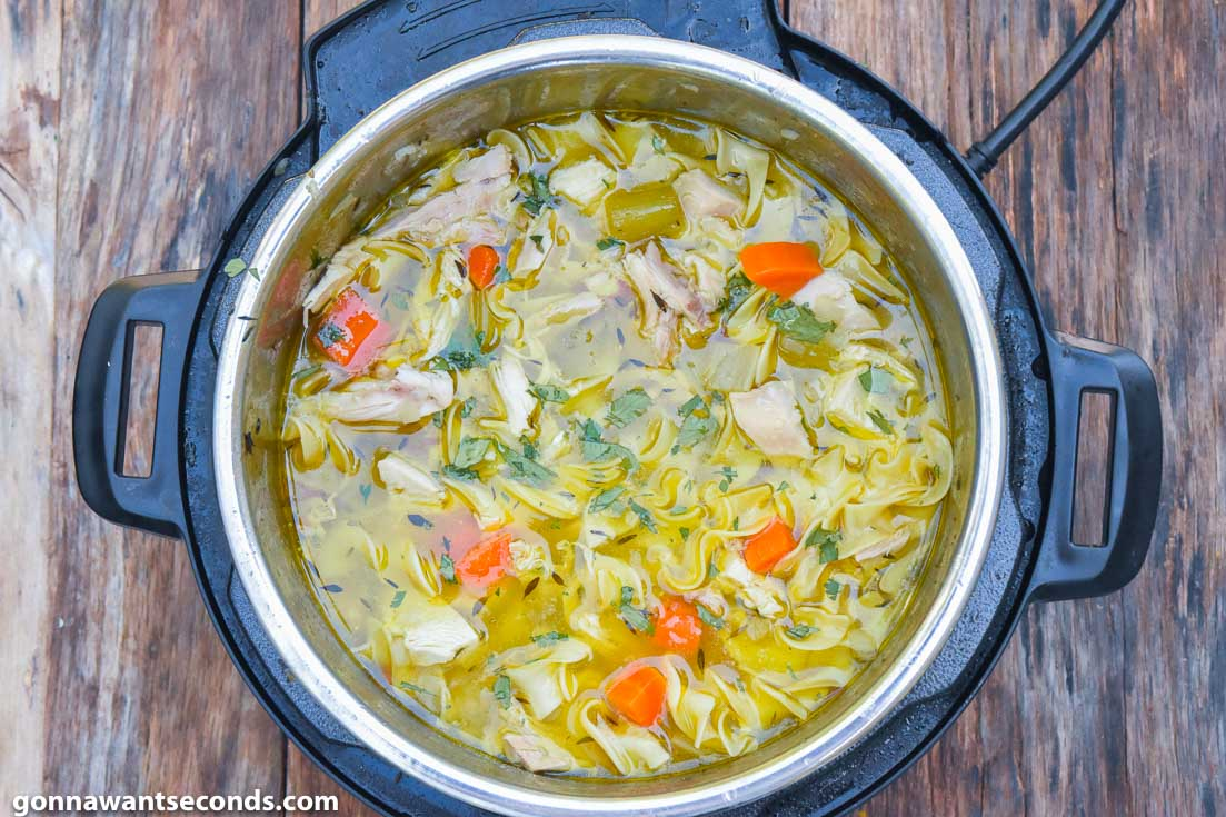 Instant Pot Chicken Noodle Soup boiling