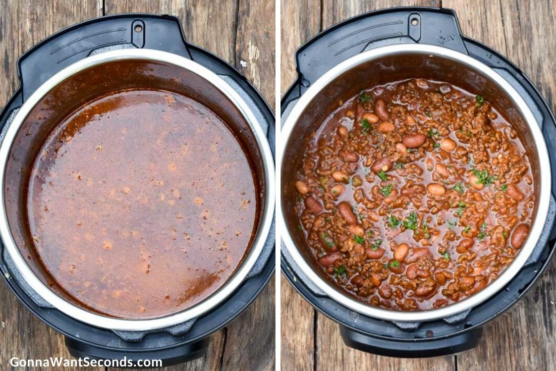 how to make instant pot chili, adding broth and beans in the pot