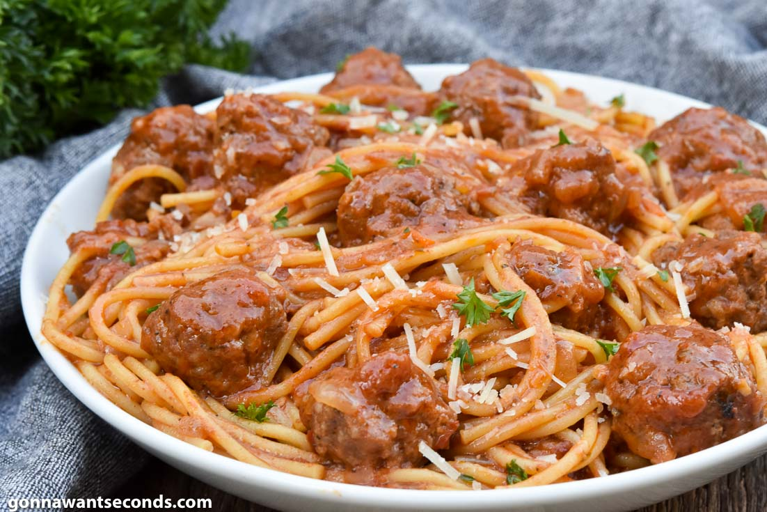 Spaghetti Recipes, Instant Pot Spaghetti and Meatballs on a plate