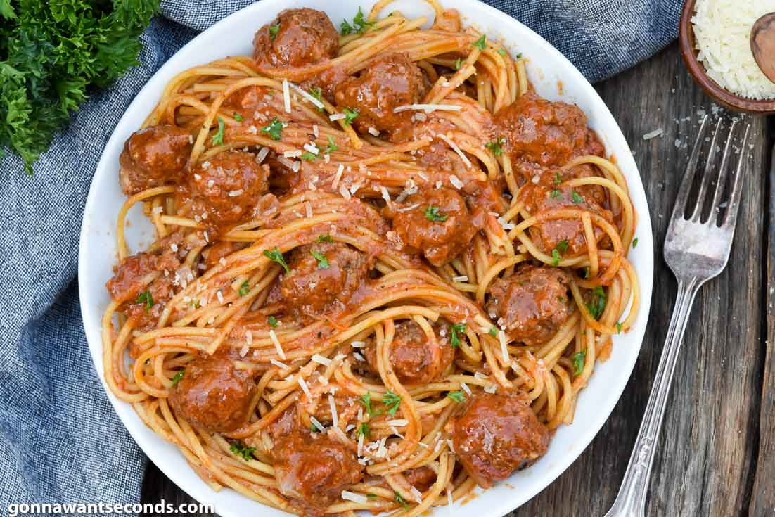 Instant Pot Spaghetti and Meatballs on a plate