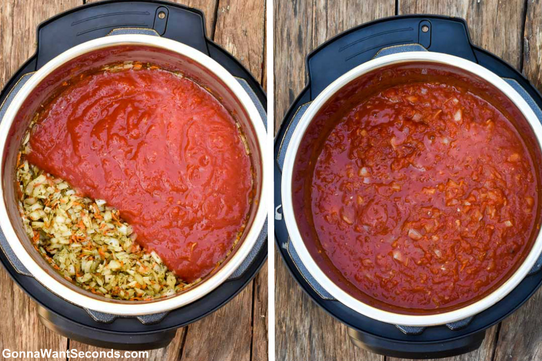How to make Instant Pot Spaghetti and Meatballs, adding sauce to the pot