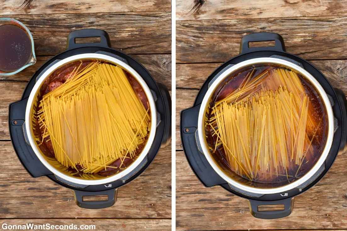 How to make Instant Pot Spaghetti and Meatballs, adding spaghetti noodles