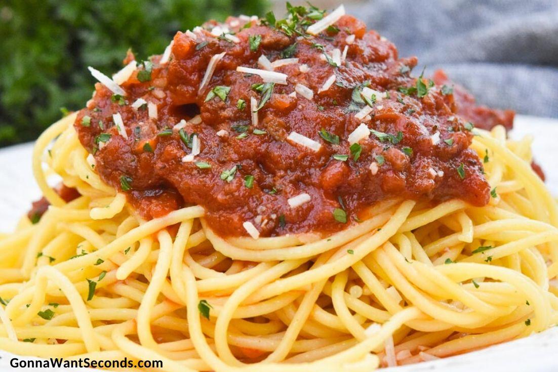 Italian spaghetti sauce over spaghetti pasta