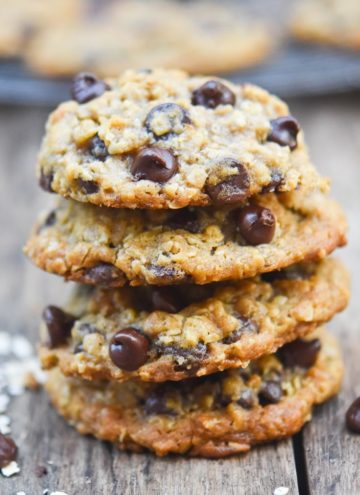 oatmeal chocolate chip cookies stack on top of each other