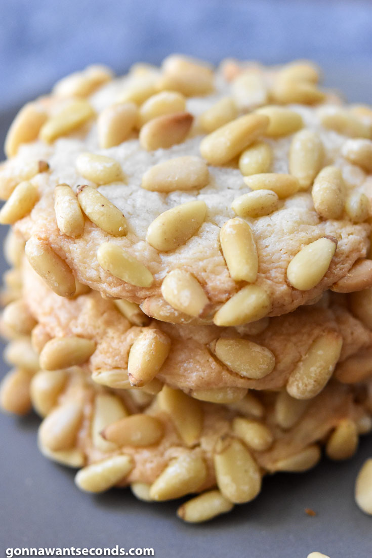 Pignoli Cookies stack on top of each other