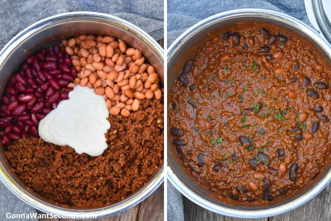 How to make Pioneer Woman Chili, mixing chili and beef mixture