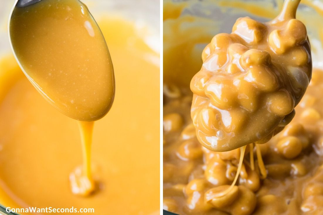 How to make Polar Bear Paws Candy, mixing peanuts and caramel