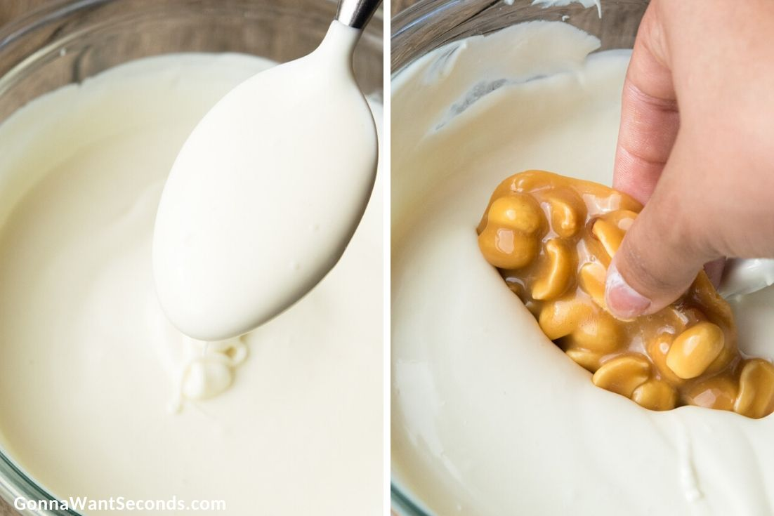 How to make Polar Bear Paws Candy, melting the white chocolate and dipping the candy