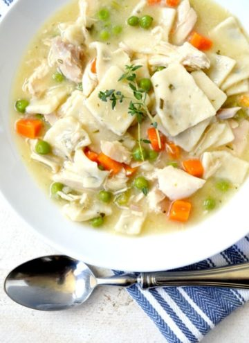 Southern chicken and dumplings in a bowl