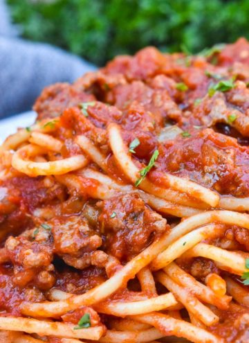 Spaghetti Recipe with Ground Beef on a plate