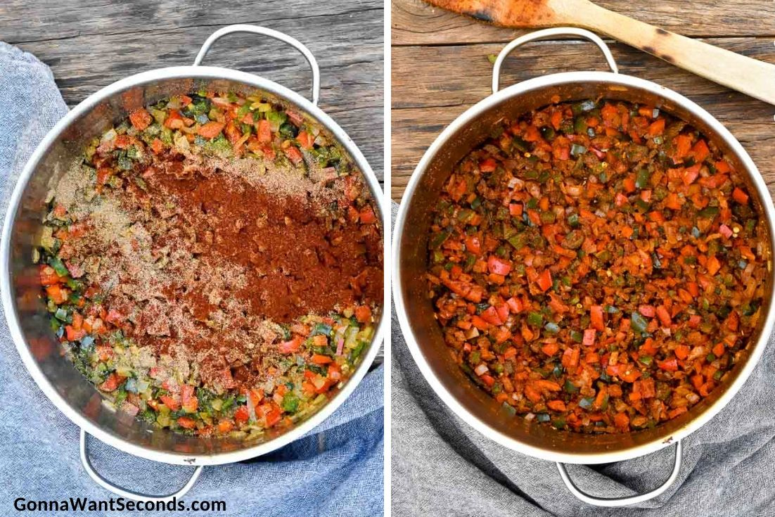 How to make Steak Chili, adding spices to veggies