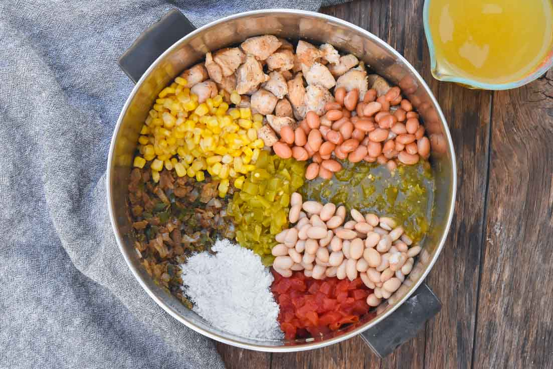 How to make White Chicken Chili, ingredients in the pot