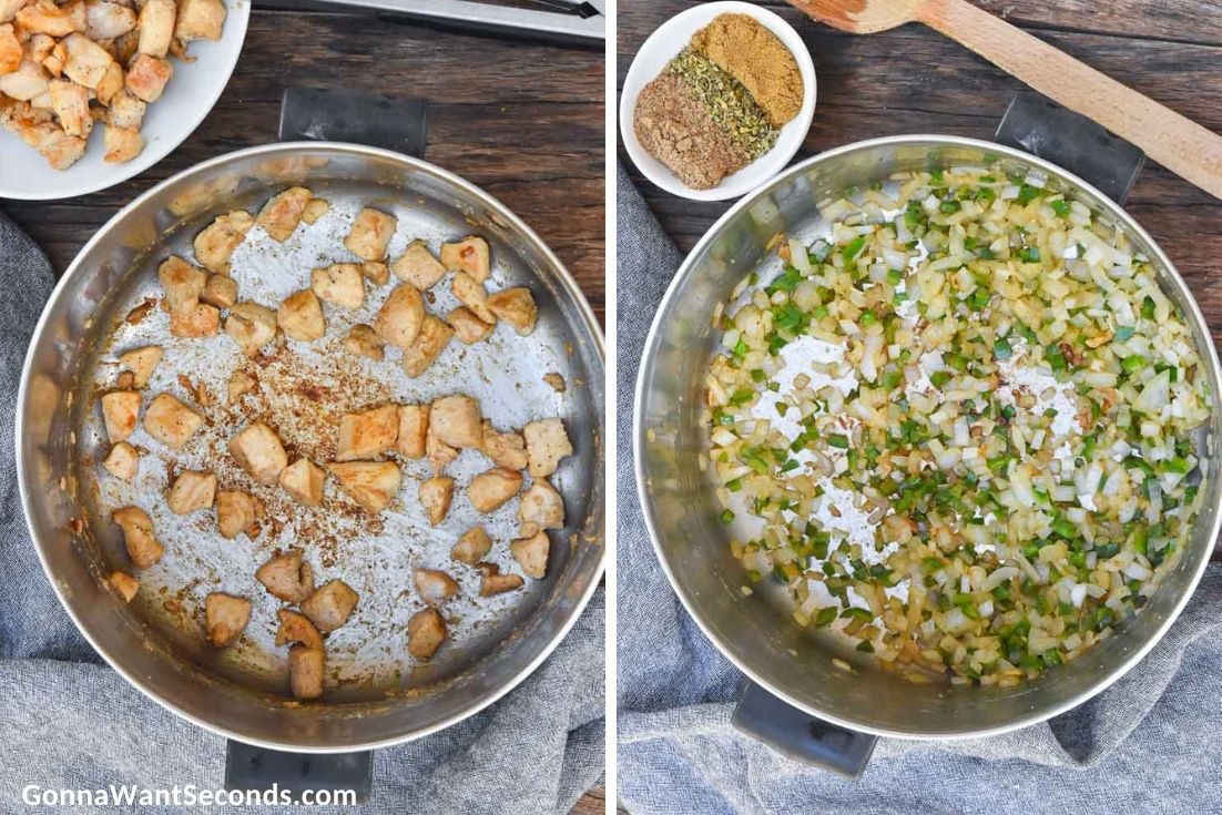 How to make White Chicken Chili, sauteing ingredients in the pot
