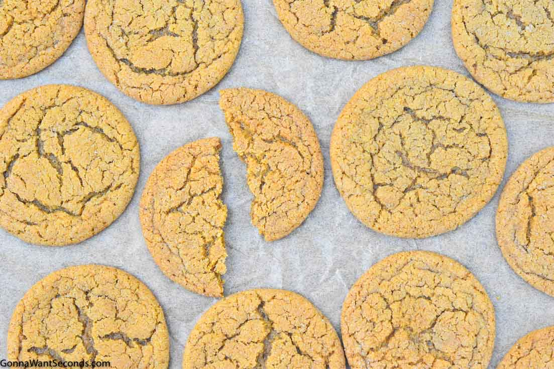 Gingersnap Cookies on a baking sheet