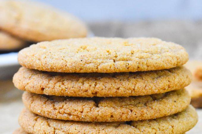 Gingersnap Cookies on a baking sheet