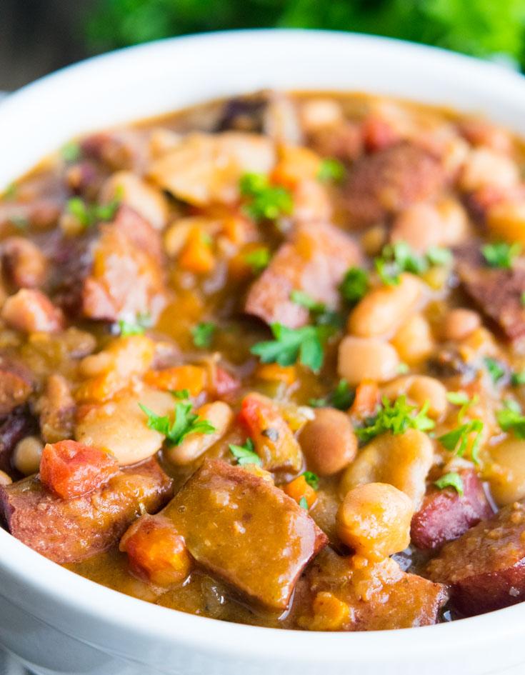 15 Bean Soup in a white bowl