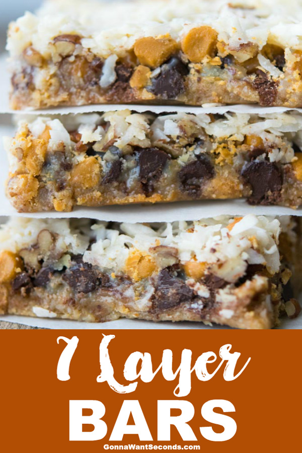 These one pan 7 Layer Bars are crunchy and gooey...just what you need to satisfy that sweet tooth. Whip them up for your next get together! #7 #Layer #Bars #Dessert #Cookies #Recipe #Magic #Easy #Christmas #Classic #WithPecans #Butterscotch #GrahamCrackers #Sweets #Crusts #Treats #Kids #Cooking #Ovens #Potlucks #PartyIdeas #WithCoconuts #ChocolateChips