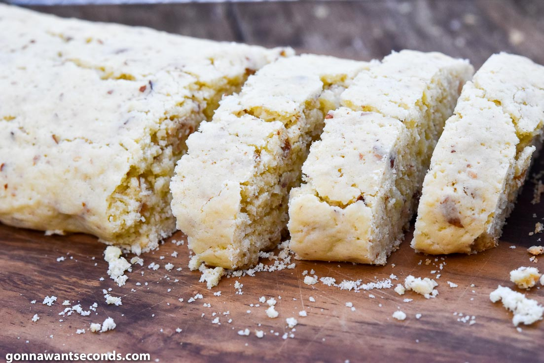 Baked and cut log of Almond Biscotti Recipe