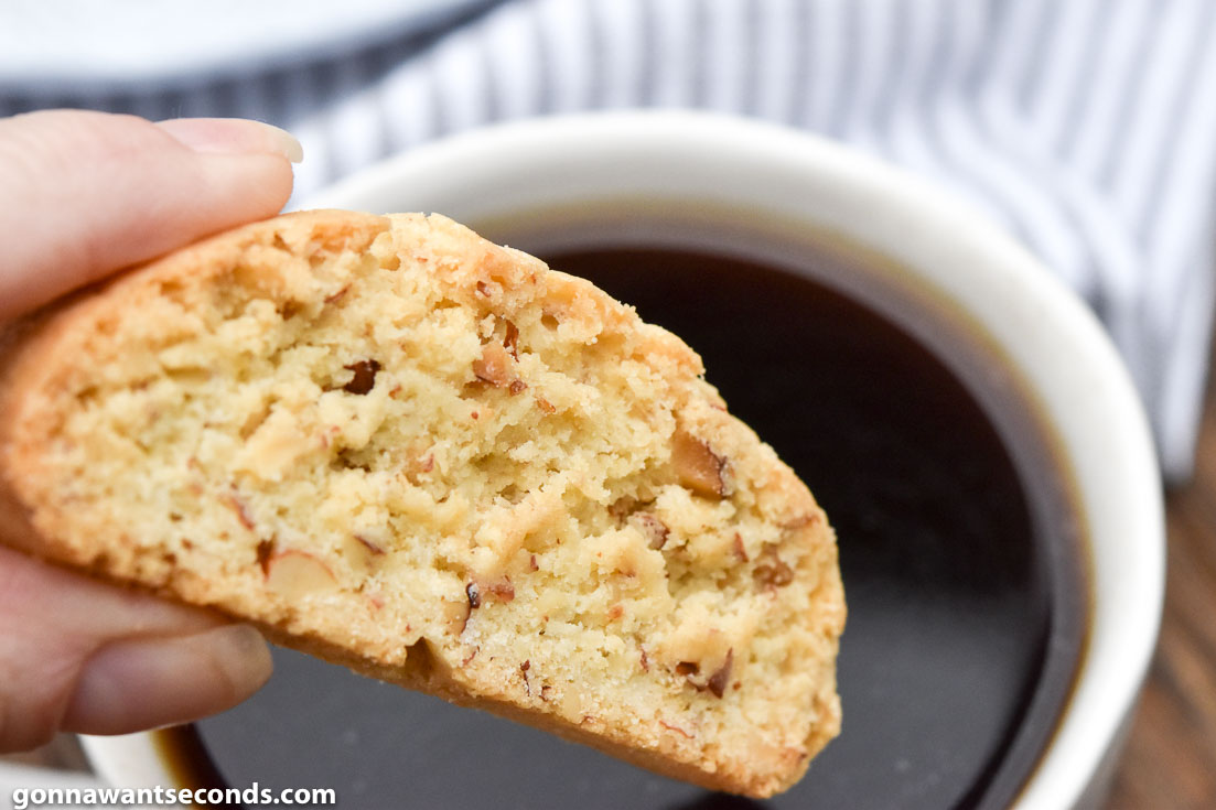 Almond Biscotti Recipe to be dipped on a cup of coffee