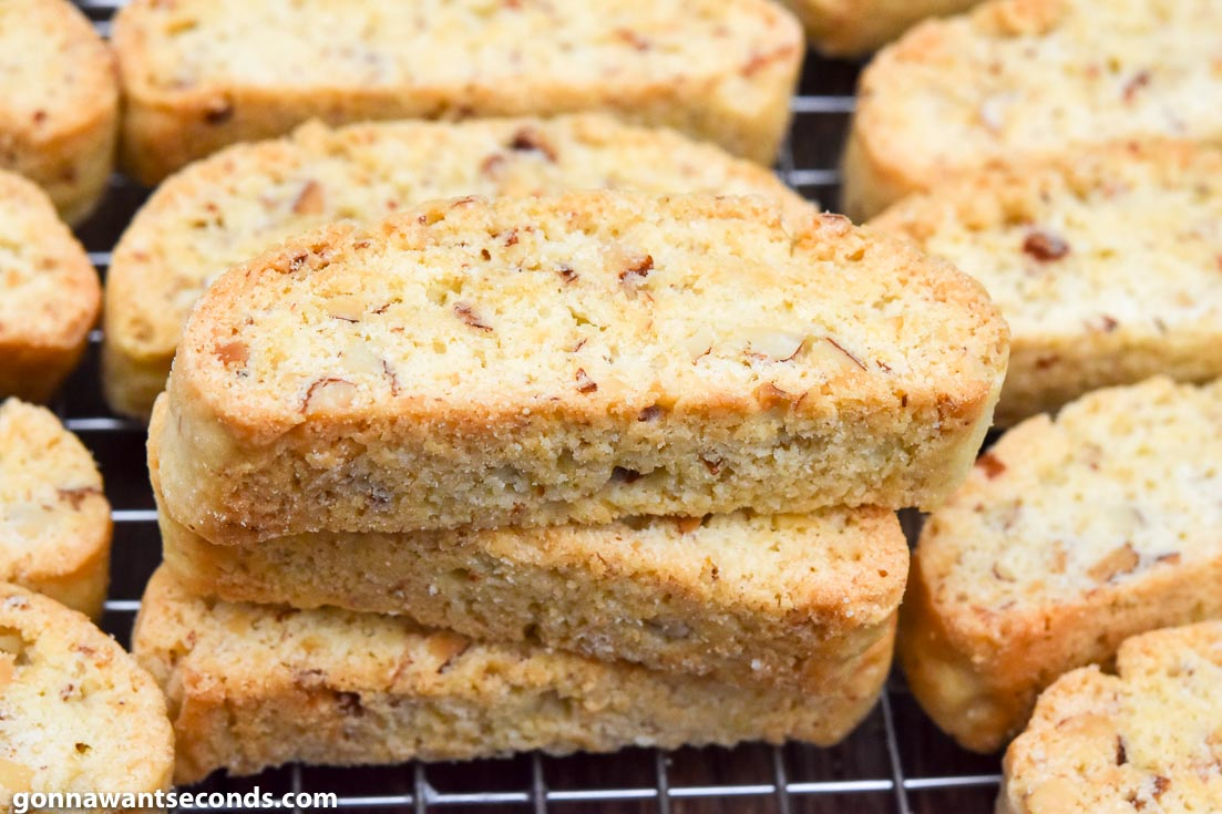 Almond Biscotti Recipe arranged on a cooling rack