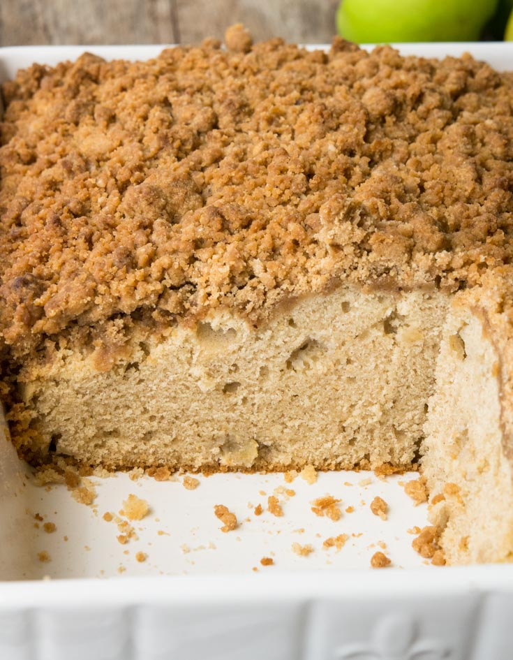 Apple Coffee Cake in a 9x13 baking dish
