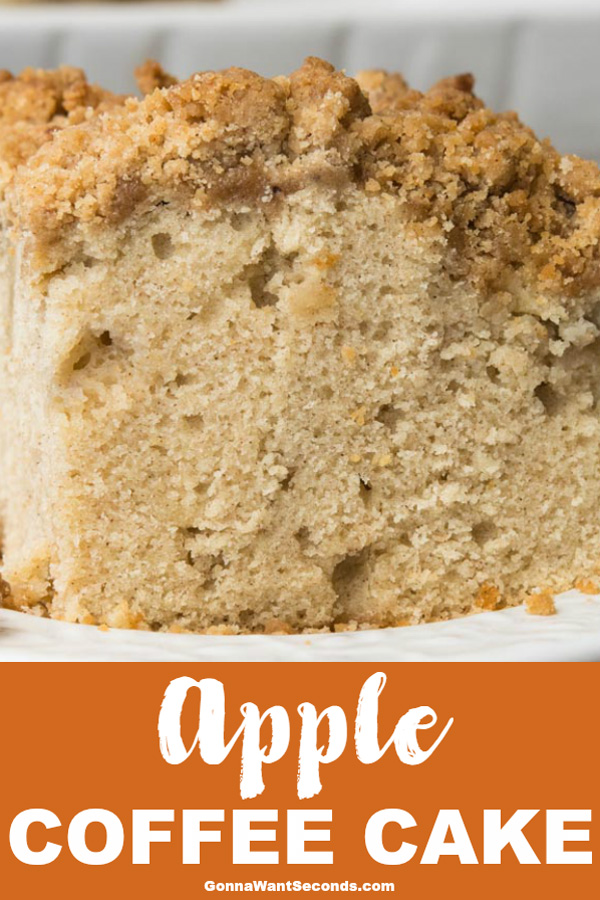 Apple Coffee Cake will be a perfect addition to your next brunch with its deliciously moist cake bursting with apples and sweet cinnamon streusel topping! #Apple #Coffee #Cake #CrumbleTopping #Recipes #Easy #FallDesserts #Breakfast #Streusel #Cinnamon #Moist #9x13 #Fresh #Brunch #Baking #Food #Ovens #ChristmasMorning #SweetTreats #Simple #Teas #Parties #Holidays #GrannySmith
