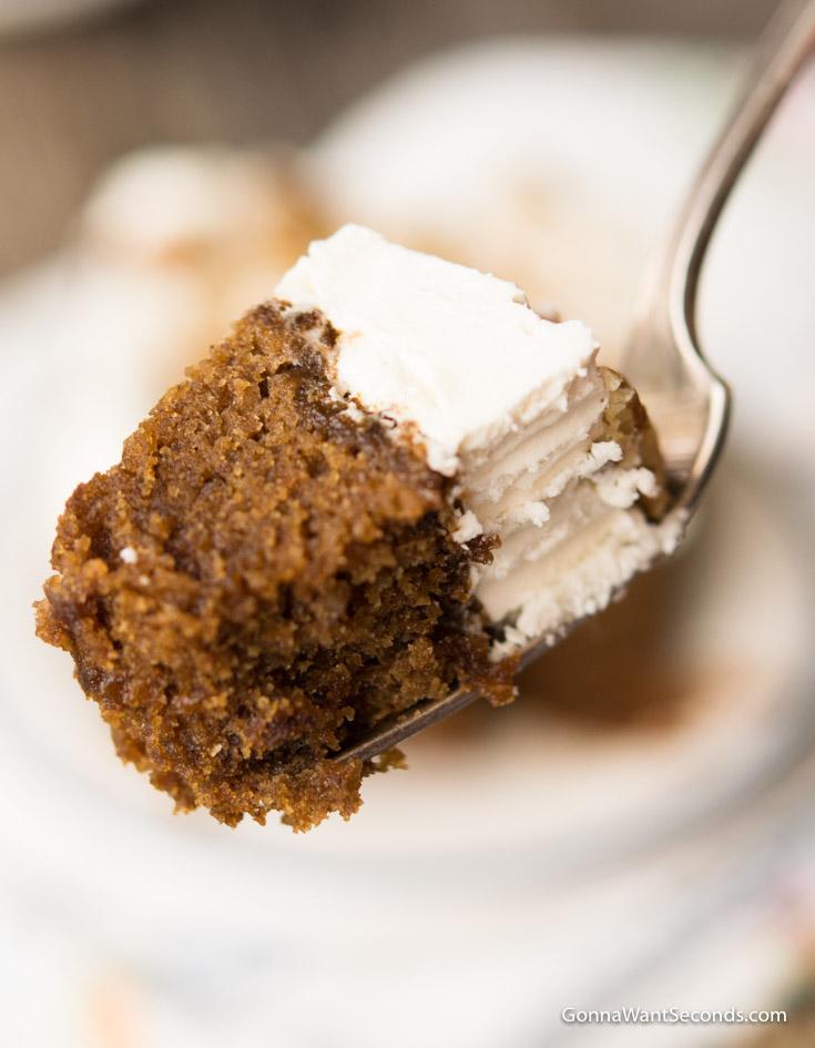 A forkful of Applesauce Cake, closeup