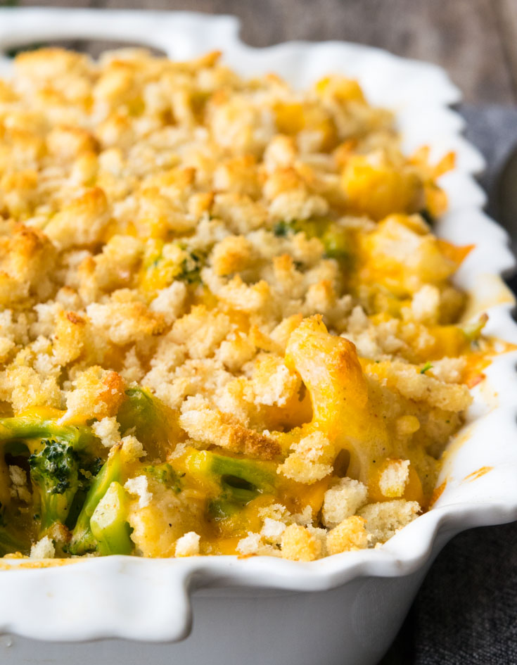Broccoli Cauliflower Casserole in a baking dish