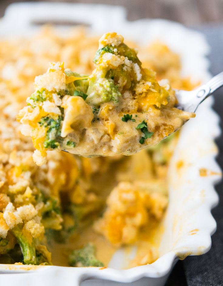 Close up shot, a spoonful of Broccoli Cauliflower Casserole