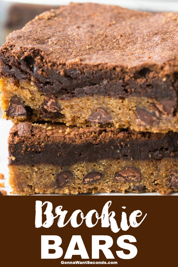 Our Brookie Bars are out of this world delicious! A combo of rich, fudgy brownies and buttery, chewy chocolate chip cookies! Doubly Decadent and Delish! #brookie #bars #recipe #desserts #cookiebrownies #easy #sugar #treats #crusts #chocolatechips #layer #cookies #brownies #fudgy #chewy #kidfriendly #bake #sale #potluck #dough