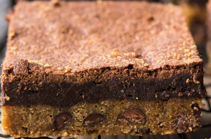 Brookie Bars on a cooling rack