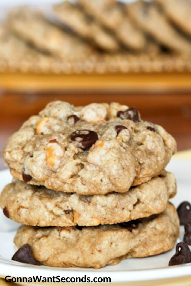 Brown butter chocolate chip cookies stack on top of each other