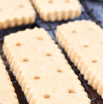 Brown Sugar Shortbread on a cooling rack