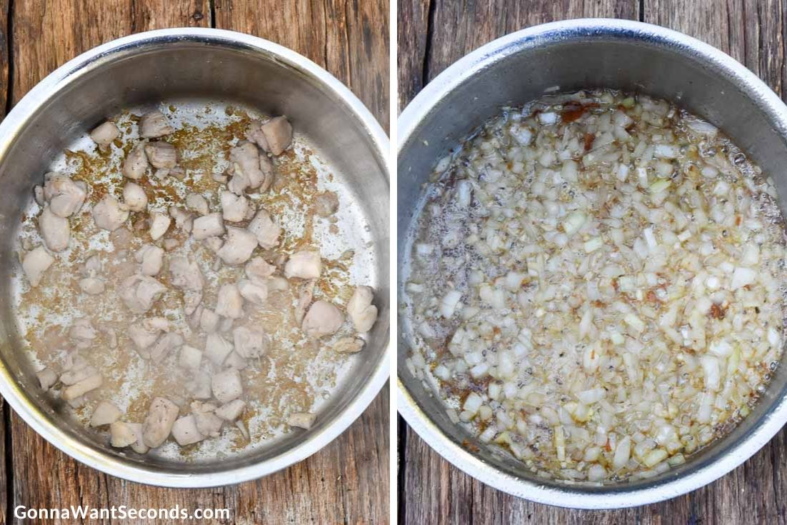 How to make Chicken Stew, browning chicken and sauteing aromatics