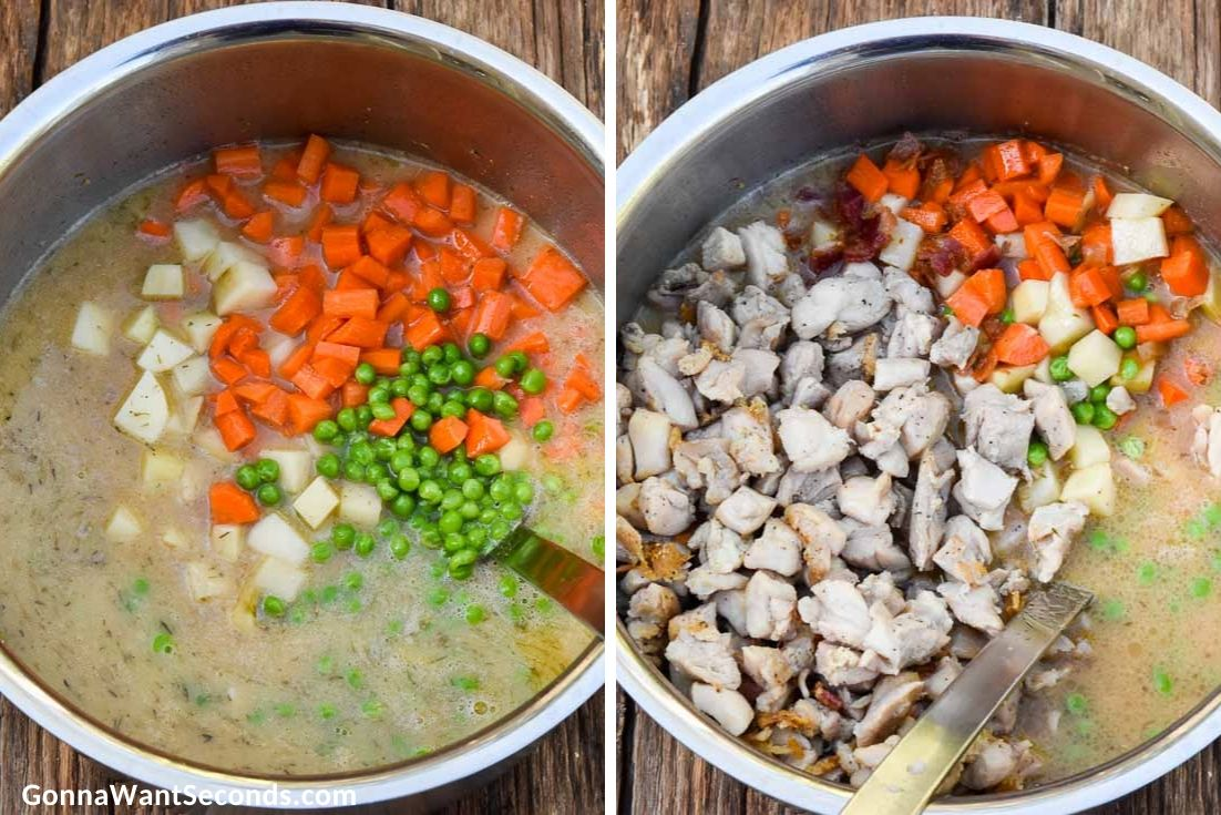 How to make Chicken Stew, adding veggies and chicken in the pot