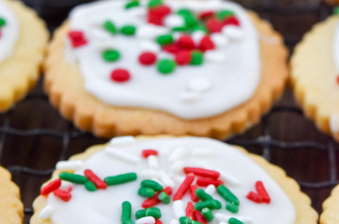 Christmas Butter Cookies on a cooling rack