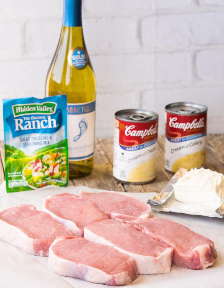 Prepared Ingredients for Crock Pot Ranch Pork Chops