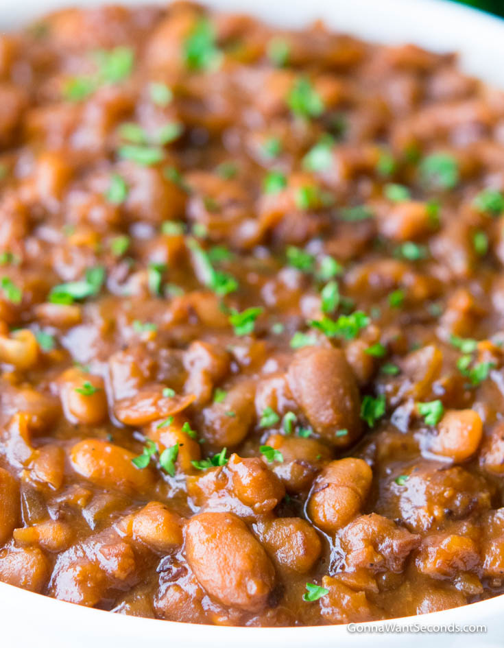 Crockpot Baked Beans in a white bowl