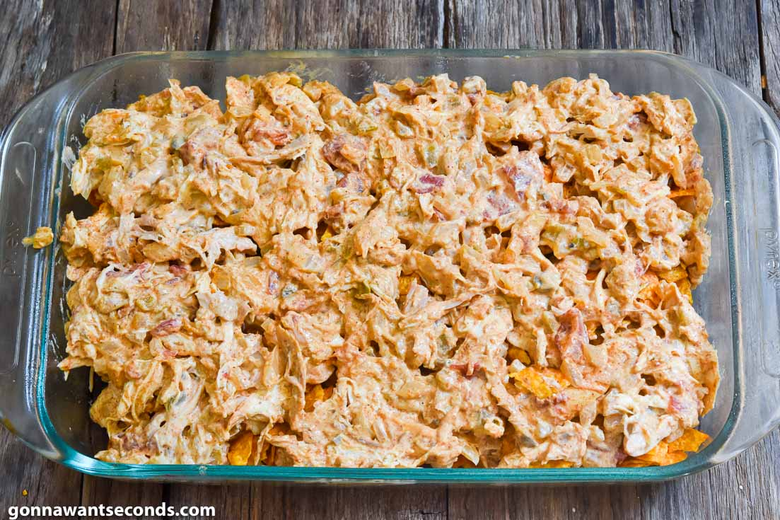 How to make Dorito chicken casserole, layering chicken