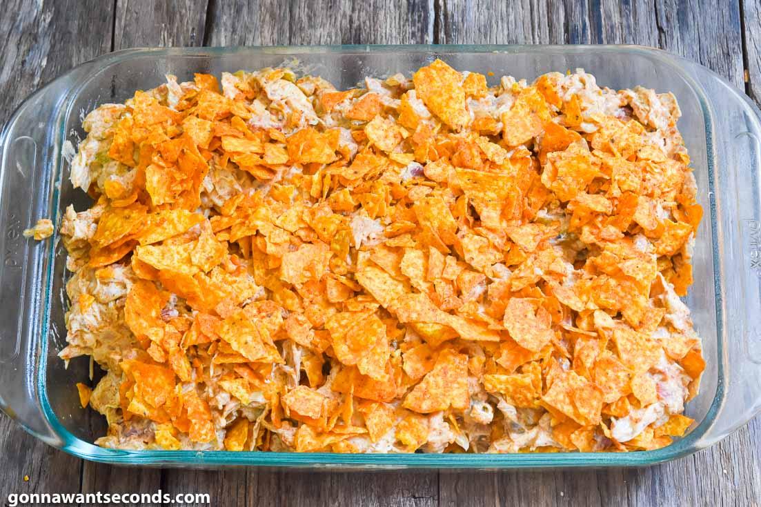 How to make Dorito chicken casserole, layering doritos