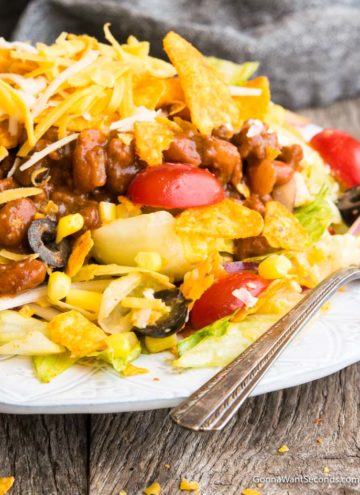 Dorito Taco Salad on a plate with fork