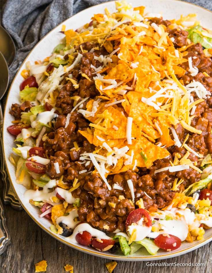 Dorito Taco Salad in a shallow salad bowl