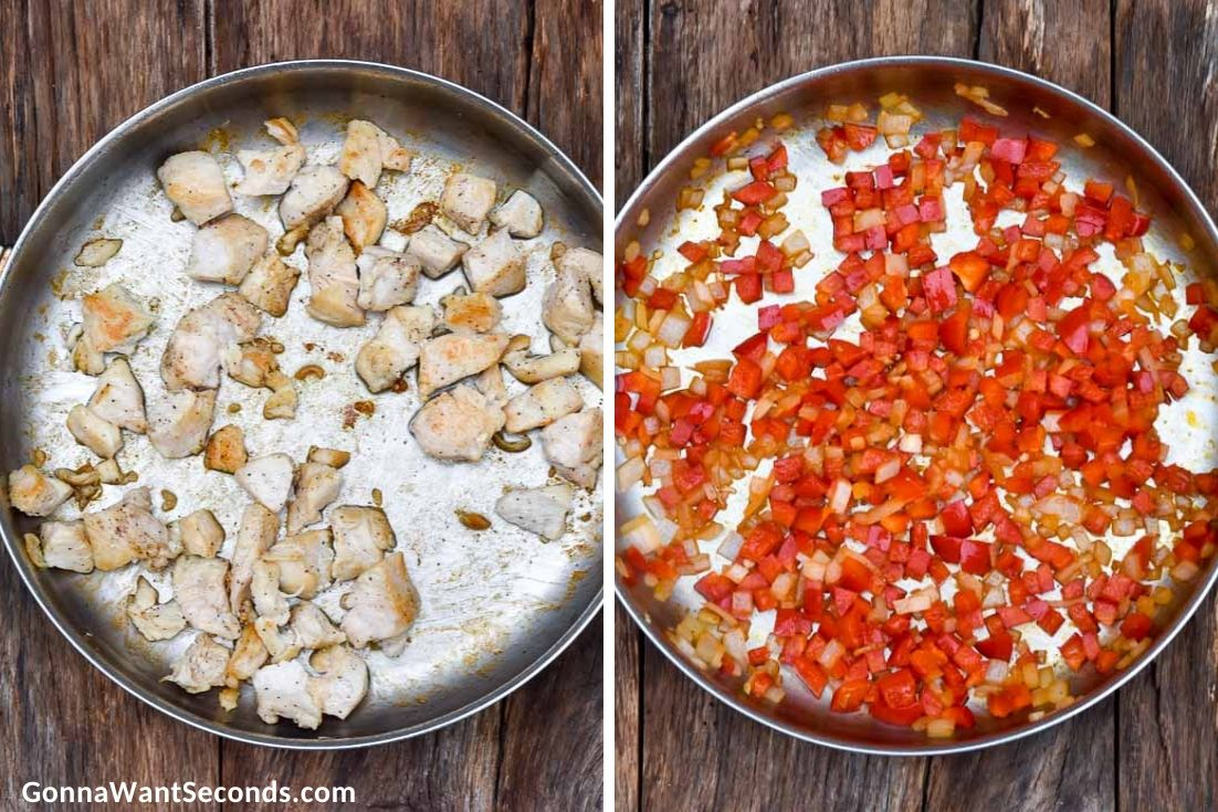 How to make fiesta chicken, sauteing chicken and veggies