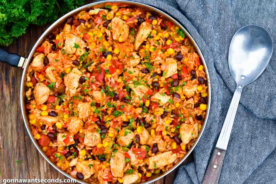 Fiesta chicken in a skillet