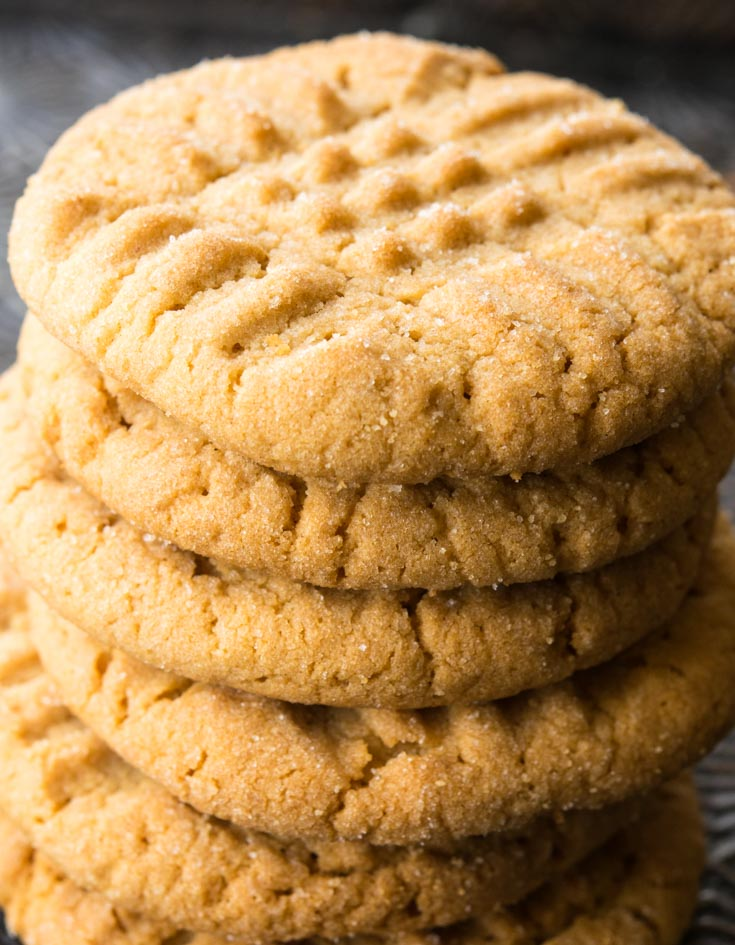 Peanut Butter Cookies stacked on top of each other